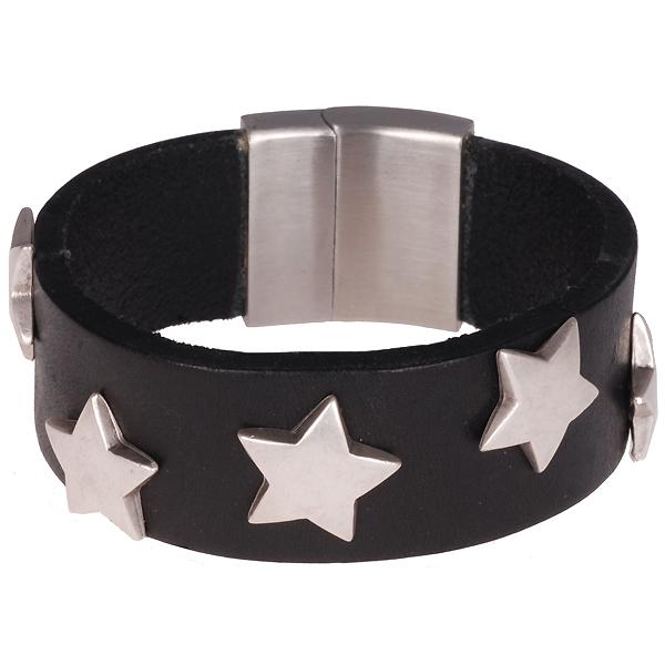 8b521db5371 Brace heren armband Leer met RVS BR403/B - Armband Shop - Goedkoop ...
